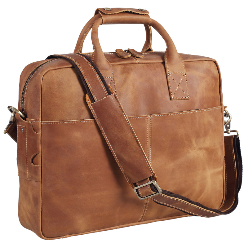 Polare Authentic Genuine Leather 16'' Laptop Case Bag Briefcase (Light brown)
