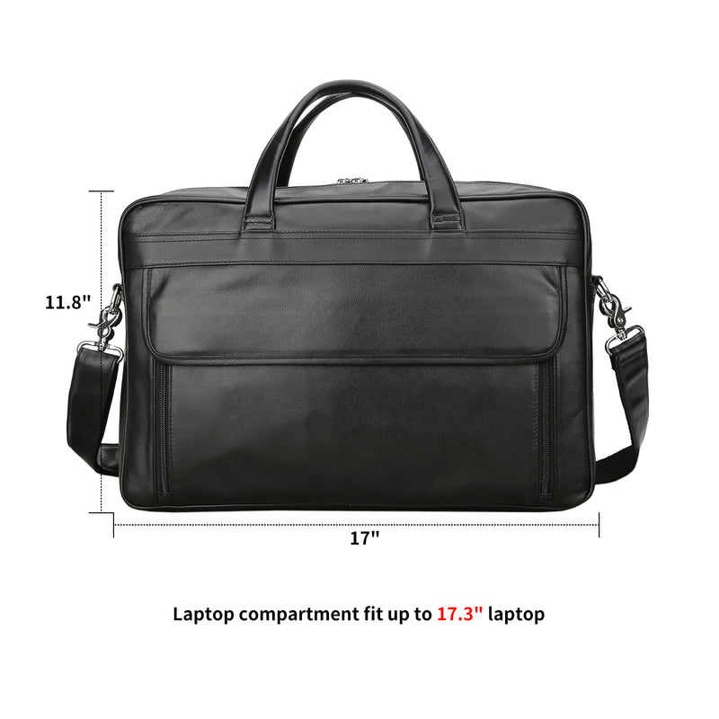 Polare 17'' Briefcase Shoulder Messenger Business Bag (Black, Dimension)