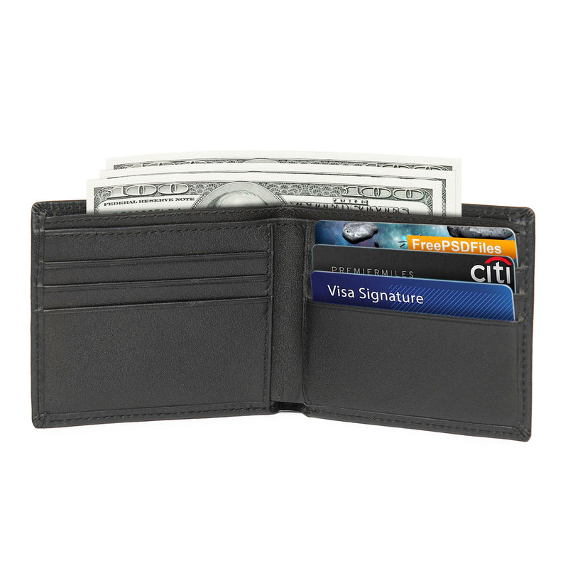 Polare RFID Blocking Genuine Leather Slim Bifold Wallet (Black, Inside)