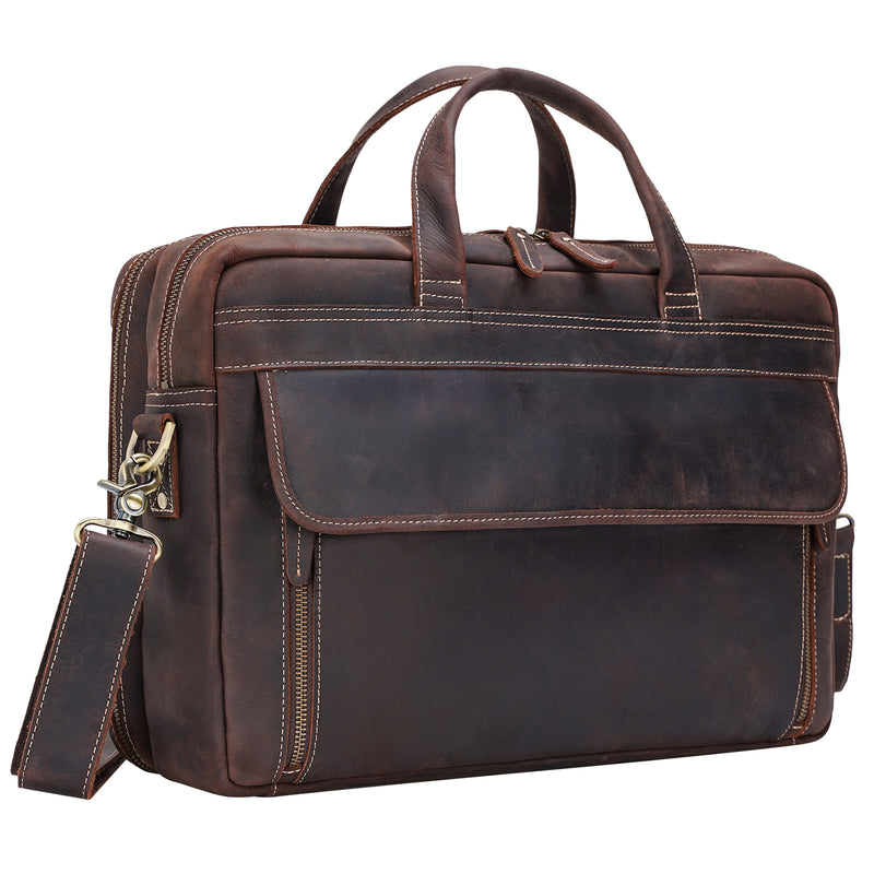 Polare 17'' Briefcase Shoulder Messenger Business Bag (Dark Brown)