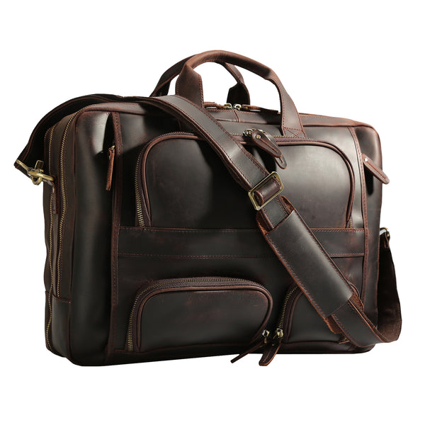 "Polare 17"" Leather Briefcase Business Messenger Bag (Dark Brown)"