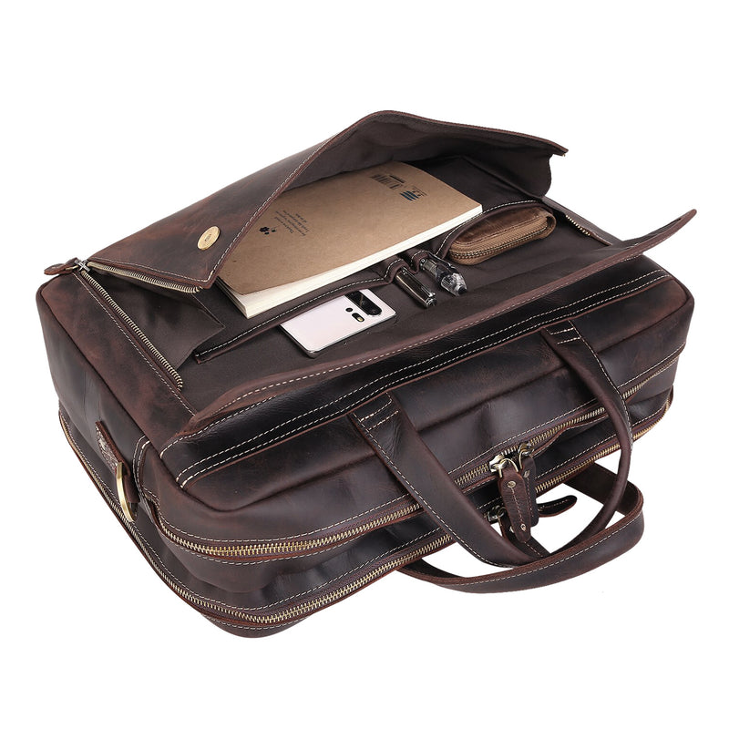 Polare 17'' Briefcase Shoulder Messenger Business Bag (Dark Brown, Front Pocket)
