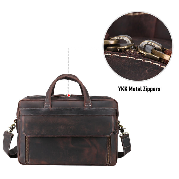 17'' Briefcase Shoulder Messenger Business Bag (Dark Brown, Front)