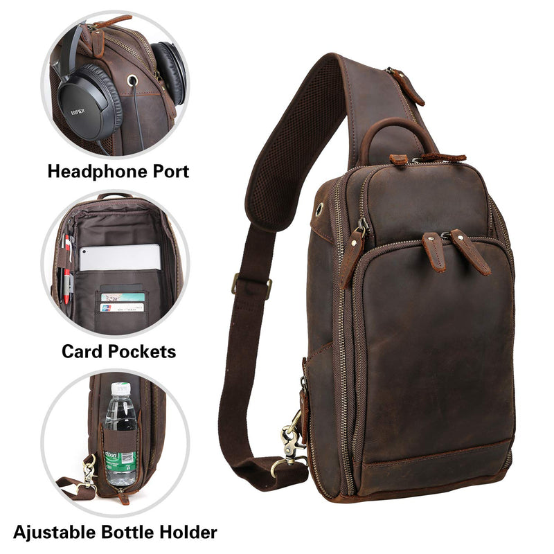 Polare Modern Style Sling Shoulder Bag Men's Travel/Hiking Daypack (Dark Brown, Details)