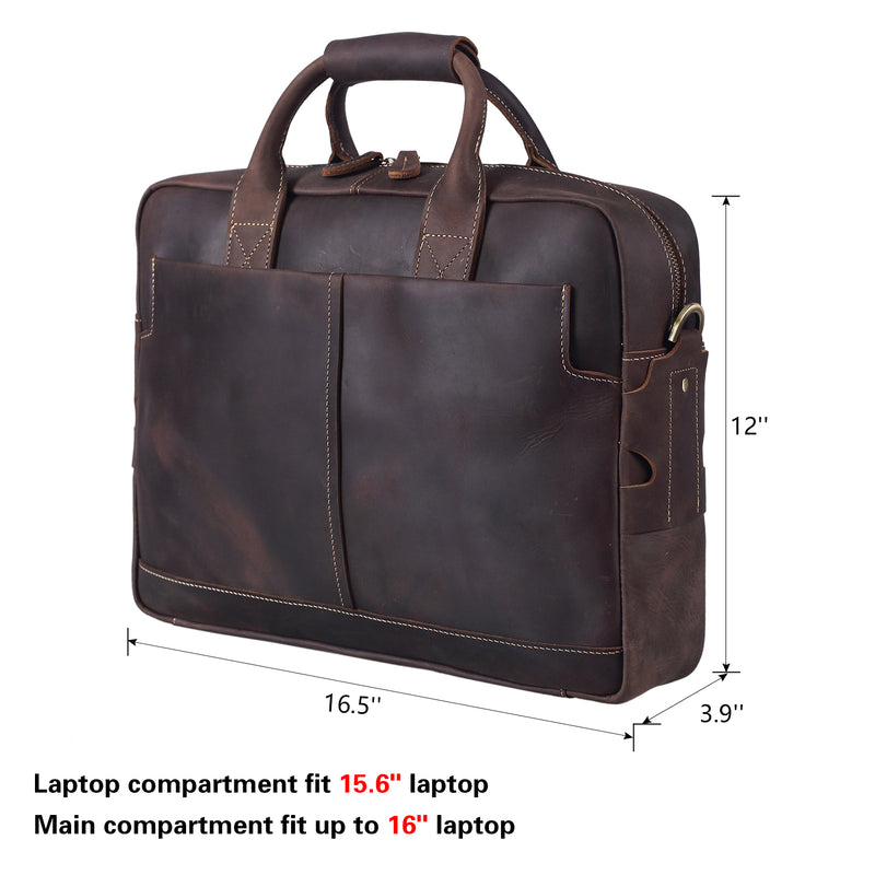 Polare Authentic Genuine Leather 16'' Laptop Case Bag Briefcase (Dark brown,Dimension)