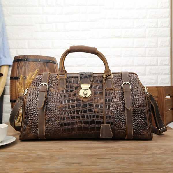 Polare Crocodile Pattern Cowhide Leather Duffle Bag (Front)