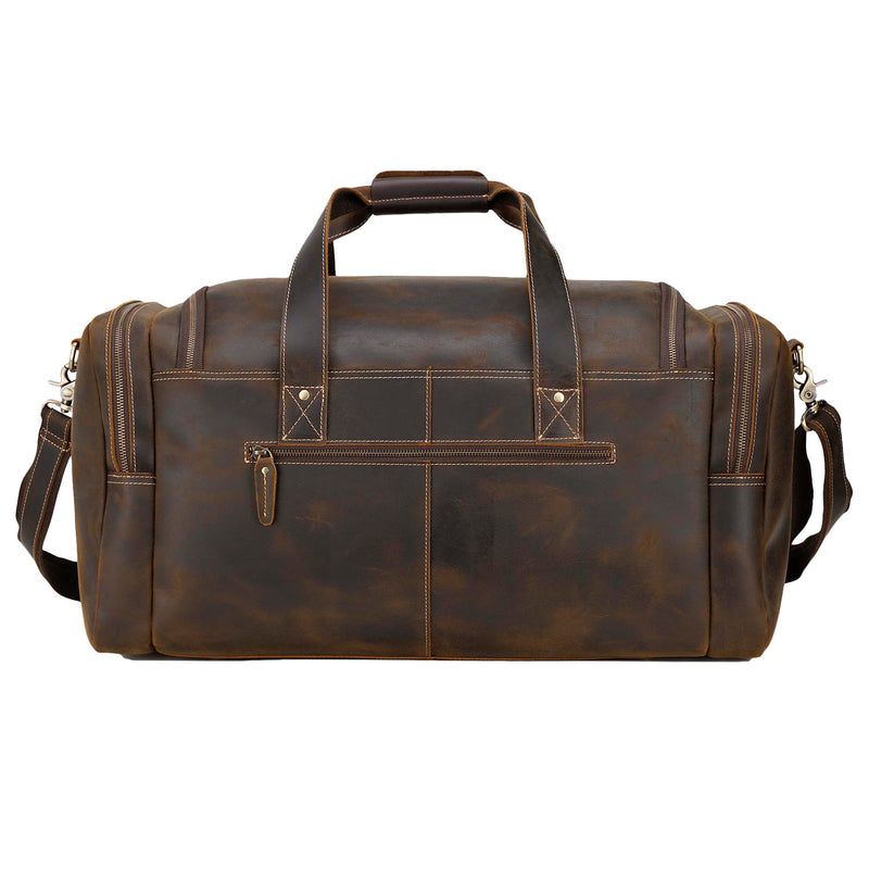 "Polare 23"" Full Grain Leather Gym Weekender Luggage Bag (Brown,Back)"
