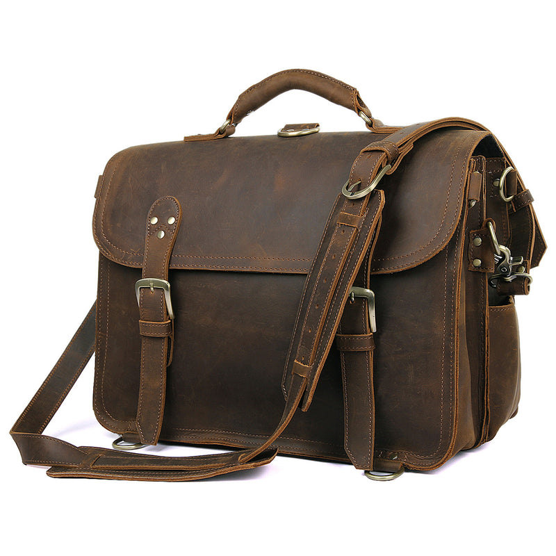 Polare Leather Messenger Bag Casual Designer Travel Briefcase