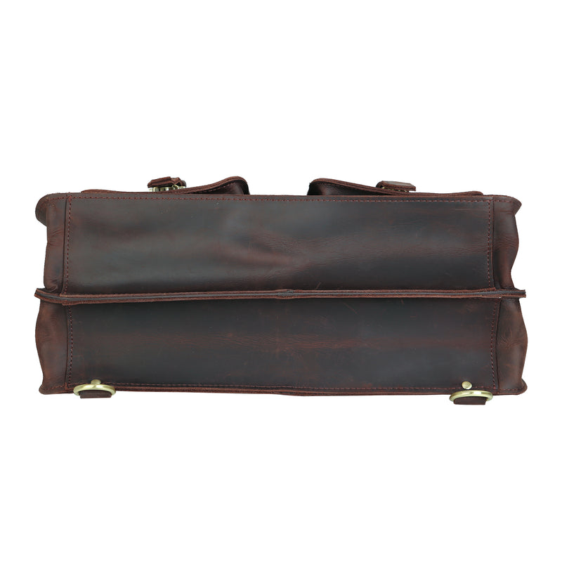 Polare Full Grian Leather Briefcase Messenger Bag (Bottom)