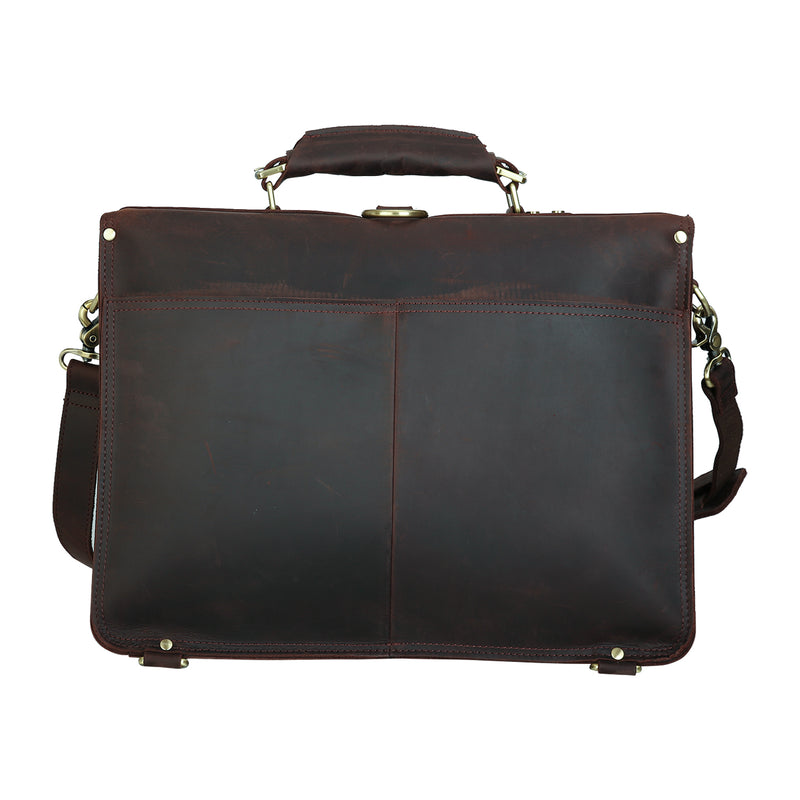 Polare Full Grian Leather Briefcase Messenger Bag (Back)