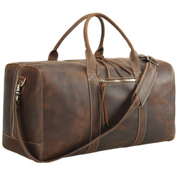 Polare  23.2'' Leather Duffel Bag Overnight Weekender Bag (Brown)