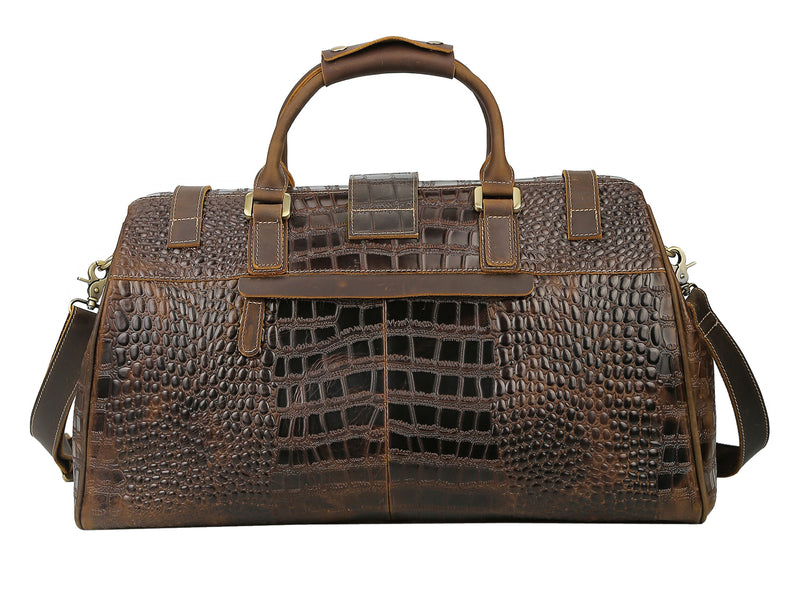 Polare Crocodile Pattern Cowhide Leather Duffle Bag (Back)