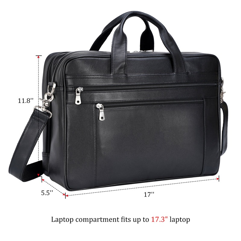 Polare Real Soft Napa Leather 17'' Briefcase Laptop Business Bag (Dimension)