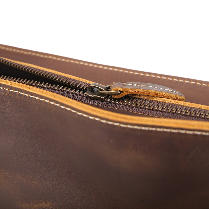 Polare Vintage Leather Messenger Bag(YKK Metal Zipper)