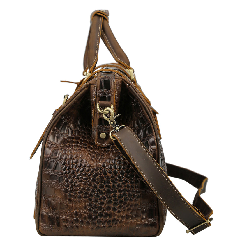 Polare Crocodile Pattern Cowhide Leather Duffle Bag (Profile)