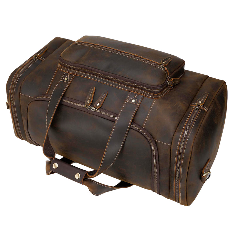 "Polare 23"" Full Grain Leather Gym Weekender Luggage Bag (Brown,Top)"