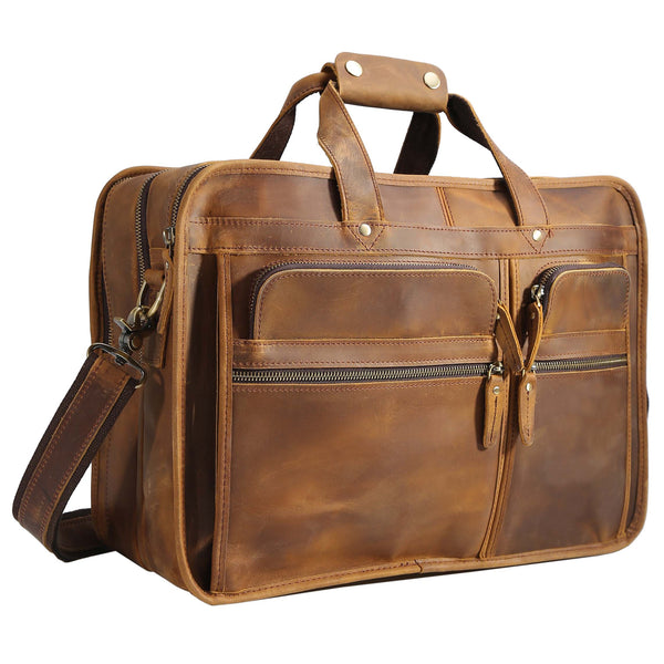 "Polare 17"" Modern Messenger Bag Laptop Briefcase (Light Brown)"