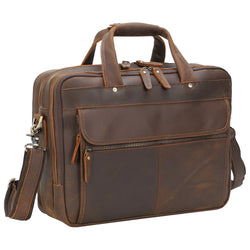 "Polare 15.7"" Full Grain Italian Leather Laptop Business Briefcase"