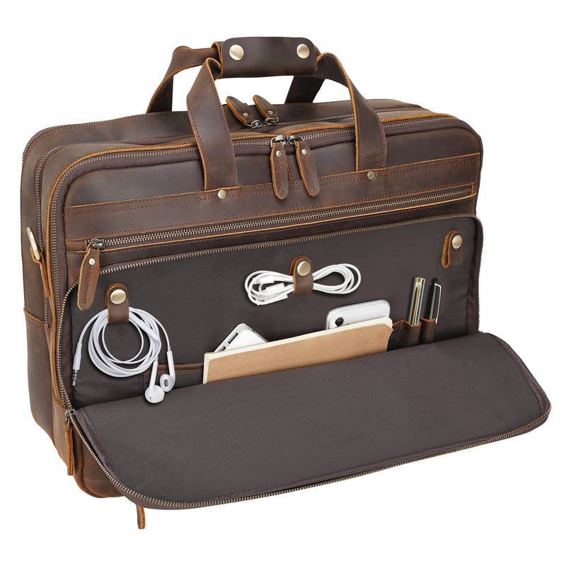 "Polare 18"" Large Full Grain Leather Briefcase Business Laptop Case Messenger Bag (Functional Front Pocket)"