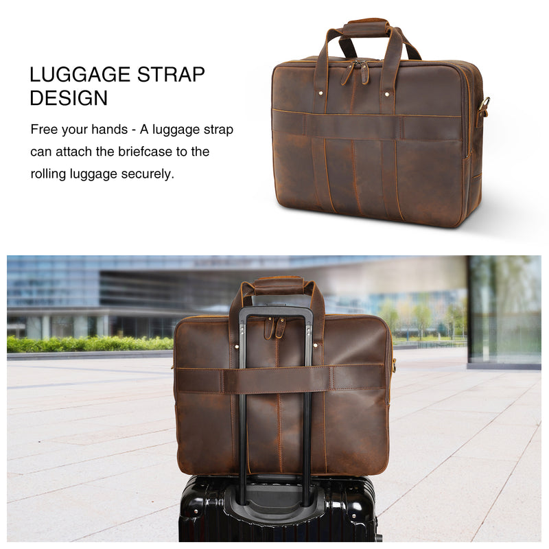 "Polare 18"" Large Full Grain Leather Briefcase Business Laptop Case Messenger Bag (Back)"