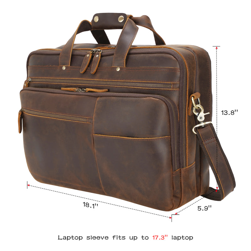 "Polare 18"" Large Full Grain Leather Briefcase Business Laptop Case Messenger Bag (Dimension)"
