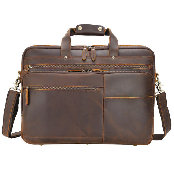 "Polare 18"" Large Full Grain Leather Briefcase Business Laptop Case Messenger Bag (Front)"