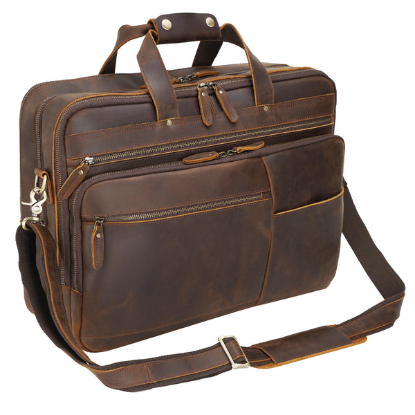 "Polare 18"" Large Full Grain Leather Briefcase Business Laptop Case Messenger Bag"