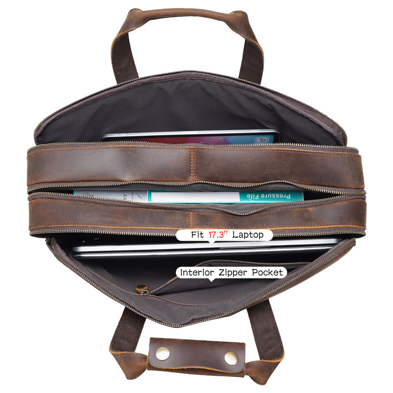 "Polare 18"" Large Full Grain Leather Briefcase Business Laptop Case Messenger Bag (Inside)"