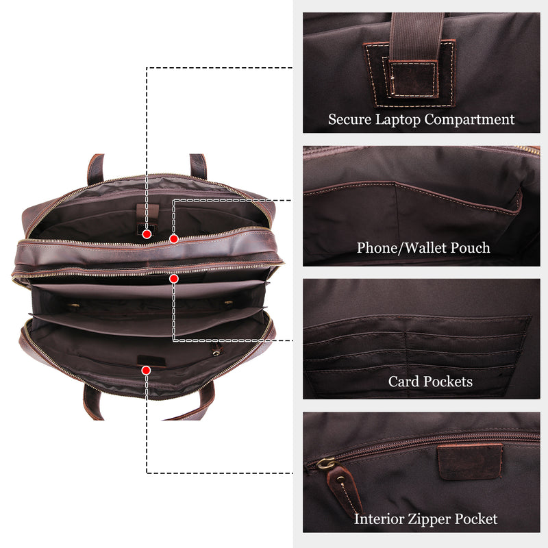 Polare 17'' Briefcase Shoulder Messenger Business Bag (Dark Brown, Inside)