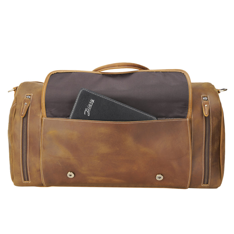 "Polare 22"" Duffel Retro Leather Gym Weekender Bag (Front Pocket)"