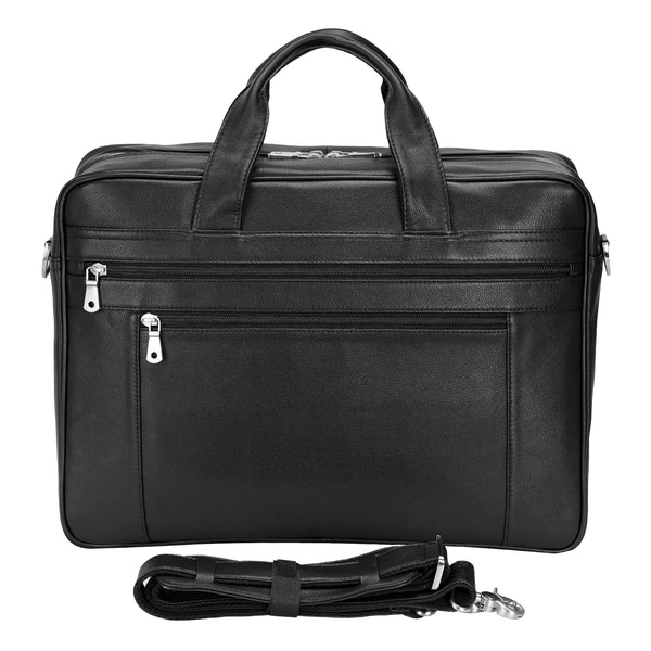 Polare Real Soft Napa Leather 17'' Briefcase Laptop Business Bag (Front)