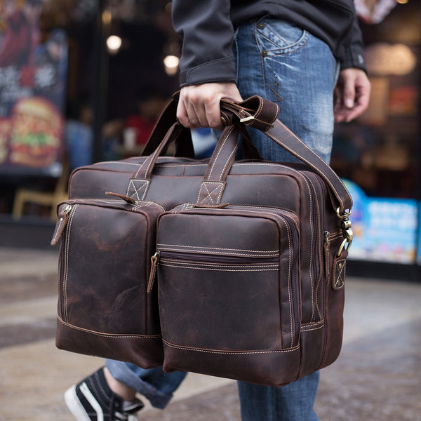 Polare Full Grain Leather 16.5'' Expandable Business Briefcase