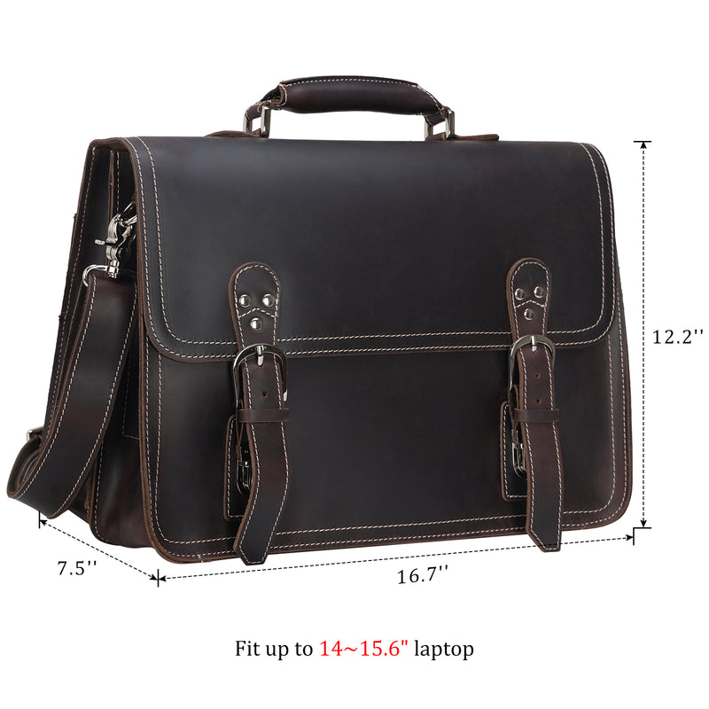 Polare Full Grain Leather Business Briefcase For Men Messenger Bag (Dimension)