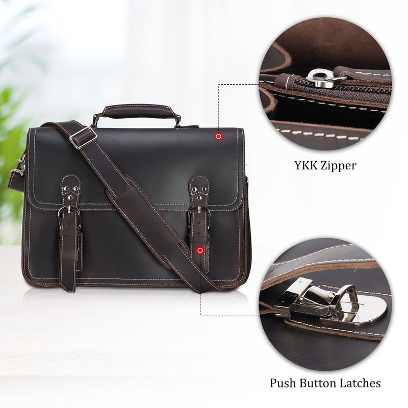 Polare Full Grain Leather Business Briefcase For Men Messenger Bag (Details)