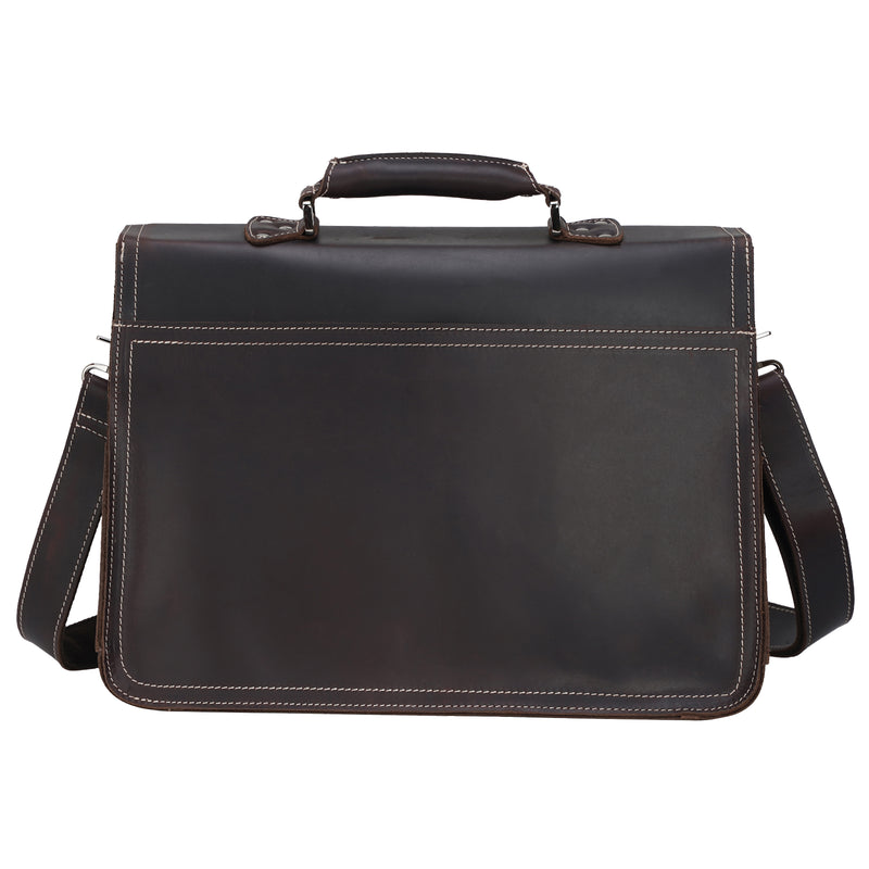 Polare Full Grain Leather Business Briefcase For Men Messenger Bag (Back)