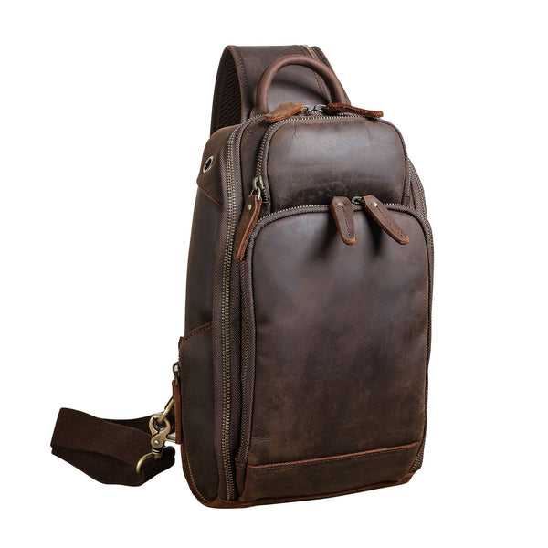 Polare Modern Style Leather Sling Shoulder Bag Travel/Hiking Daypack (Dark Brown)