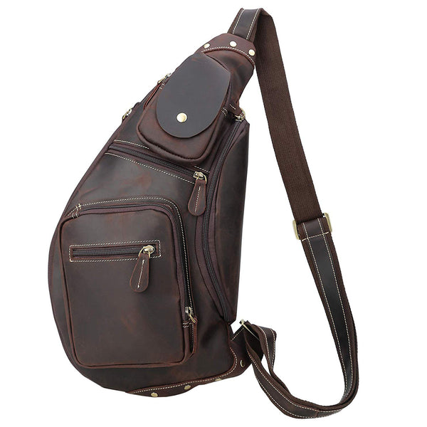 Polare Cool Real Leather Cross Body Sling Bag (Dark Brown)