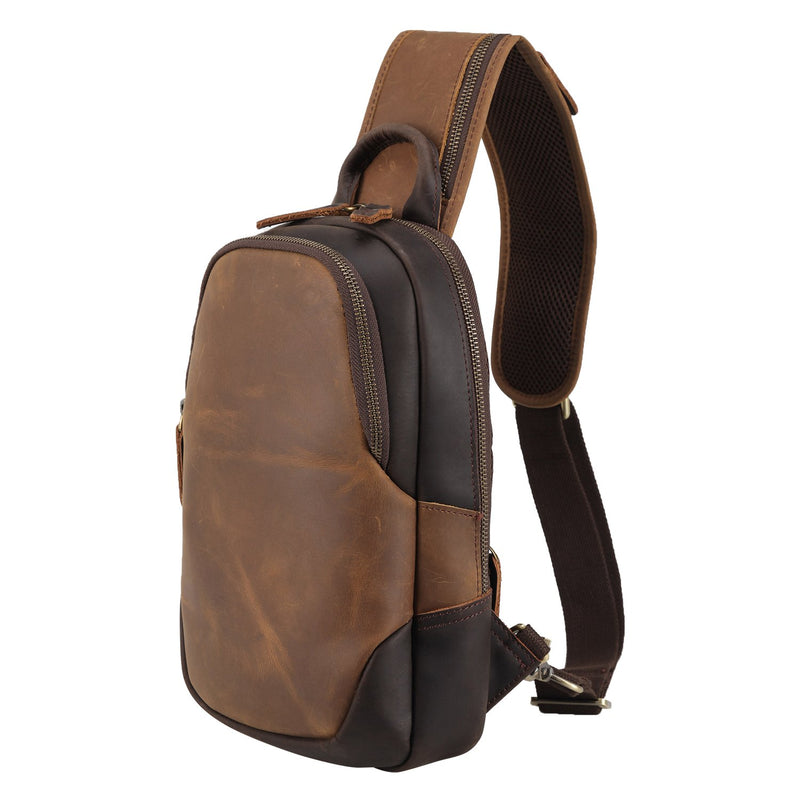 Polare Vintage Full Grain Leather Crossbody Sling Shoulder Bag Daypacks (Brown)