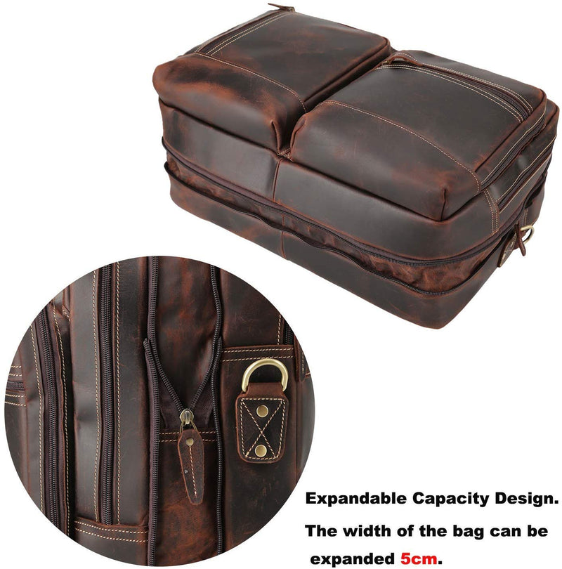 Polare Full Grain Leather 16.5'' Expandable Business Briefcase (Expandable)