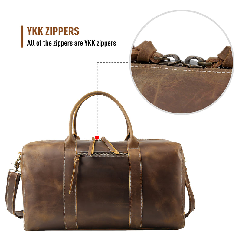 "Polare 20"" Leather Duffel Bag Overnight Weekender Bag (YKK Zippers)"