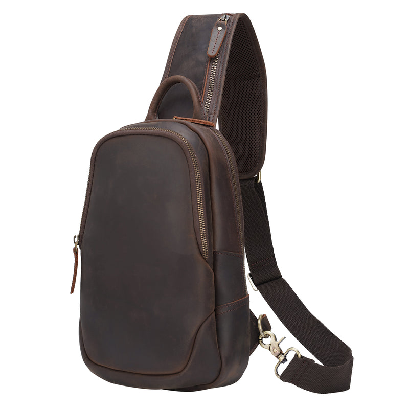 Polare Vintage Full Grain Leather Crossbody Sling Shoulder Bag Daypacks (Dark Brown, Front)