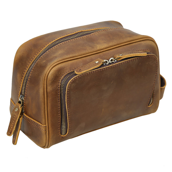 Polare Vintage Full Grain Leather Handmade Travel Toiletry Bag for Men - Dopp Kit - Shaving Kit with YKK Metal Zippers