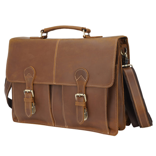 Polare Full Grain Leather Messenger Bag (Brown)