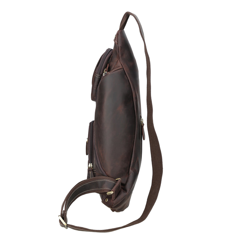 Polare Cool Real Leather Cross Body Sling Bag (Dark Brown, Profile)
