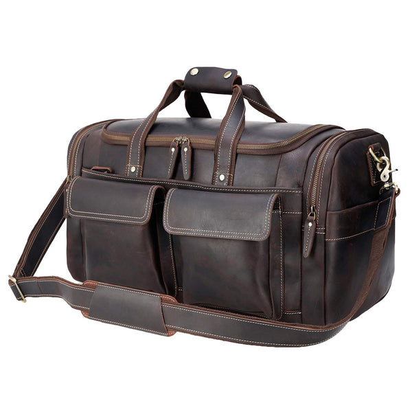 "Polare 22.8"" Duffel Retro Leather Gym Weekender Bag (Dark Brown)"