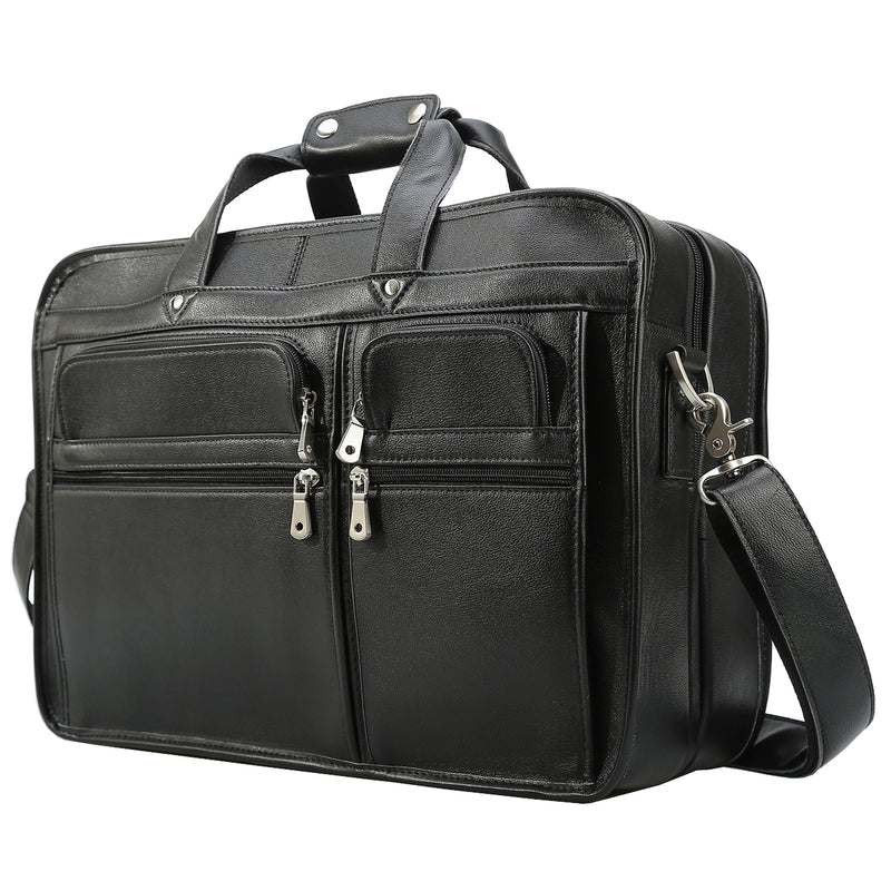 "Polare 17"" Modern Messenger Bag Laptop Briefcase (Black)"