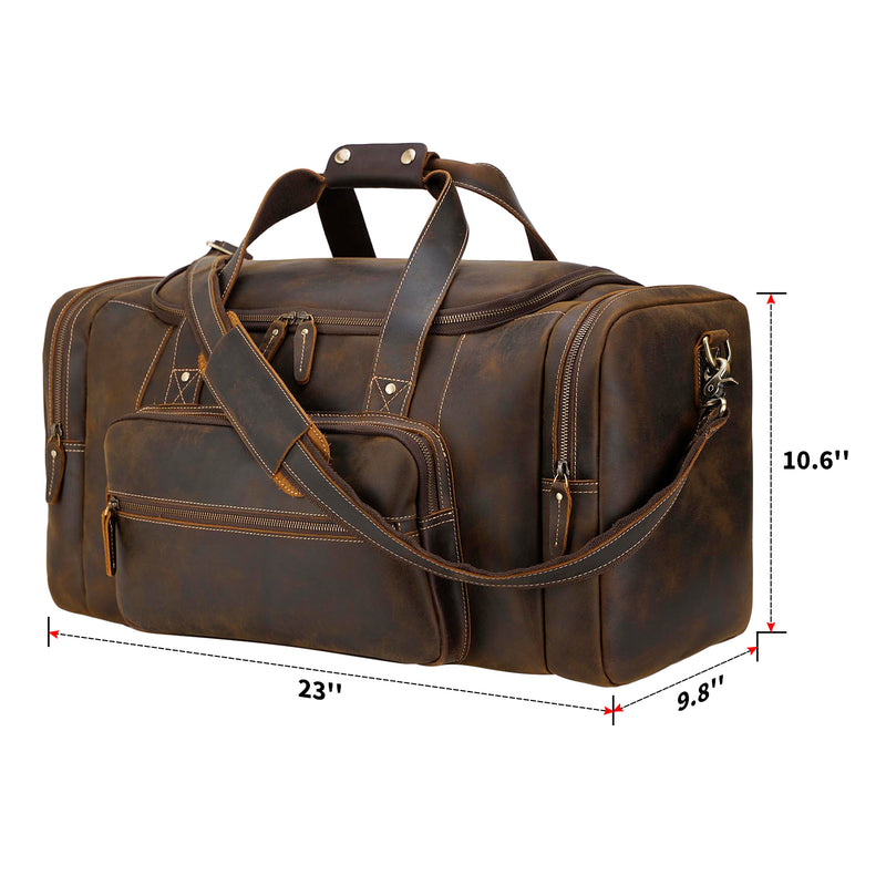 "Polare 23"" Full Grain Leather Gym Weekender Luggage Bag (Brown,Dimension)"