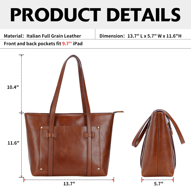 Polare Classic Italian Leather Large Shoulder Tote (Dimension)