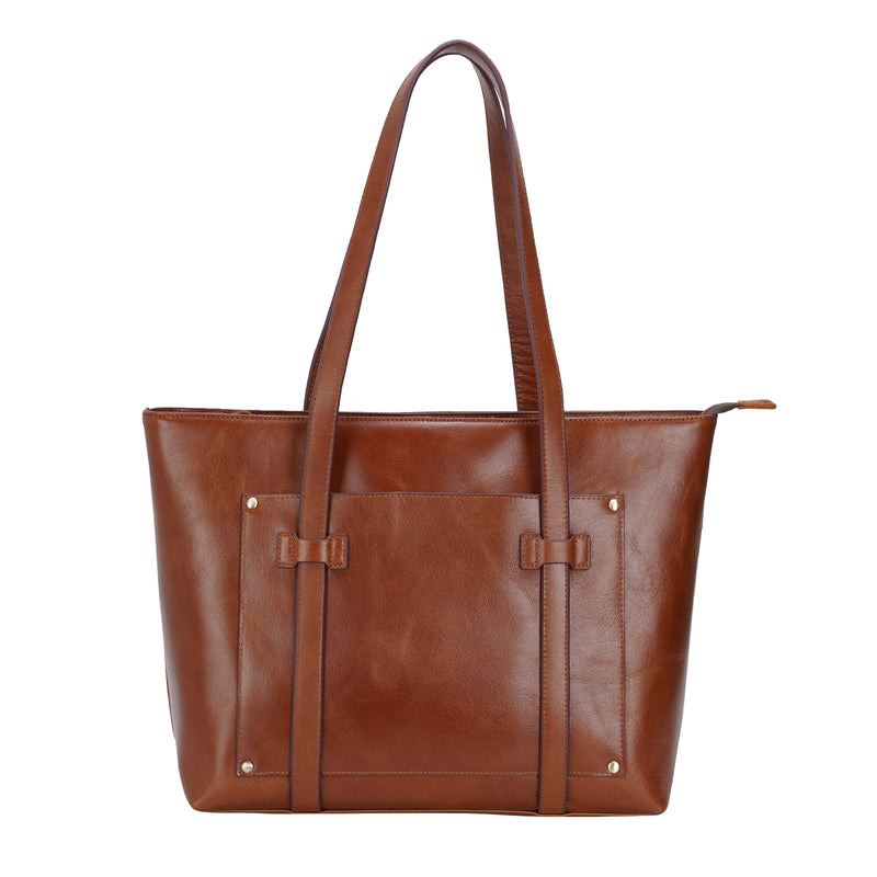 Polare Classic Italian Leather Large Shoulder Tote (Model Display)