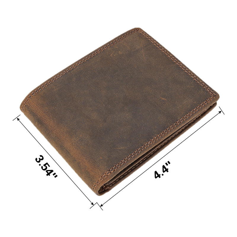 Polare RFID Blocking Cowhide Leather Bifold Wallet with 2 ID Windows (Dimension)